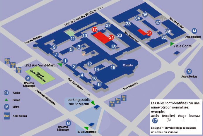 Plan d'accès aux ressources informatiques du Cnam Paris